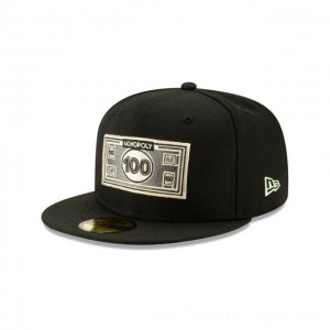 NEW ERA CAP MONOPOLY COLLECTION MONOPOLY 100 DOLLAR BILL 59FIFTY FITTED Sales