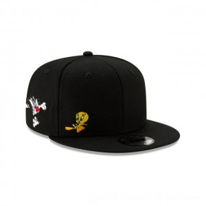 NEW ERA CAP ENTERTAINMENT COLLECTION TWEETY SYLVESTER LOONEY TUNES BLACK 9FIFTY SNAPBACK Sales