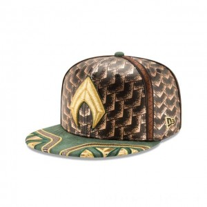 NEW ERA CAP ENTERTAINMENT COLLECTION AQUAMAN JUSTICE LEAGUE GOLD 59FIFTY FITTED Sales