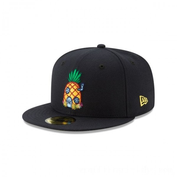 NEW ERA CAP SPONGEBOB COLLECTION SPONGEBOB PINEAPPLE NAVY 59FIFTY FITTED Sales
